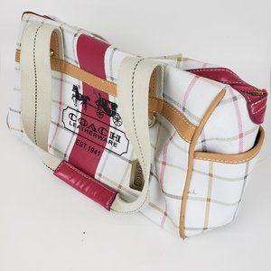 COACH Heritage Stripe White Pink Shoulder Bag